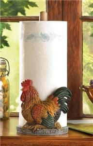 Country Kitchen Rooster Chicken Countertop Wooden Paper Towel Holder