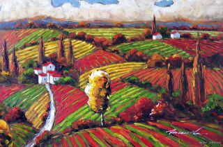Tuscany Italian Farms Crops Rural Homes Modern Art Landscape 24x36 Oil