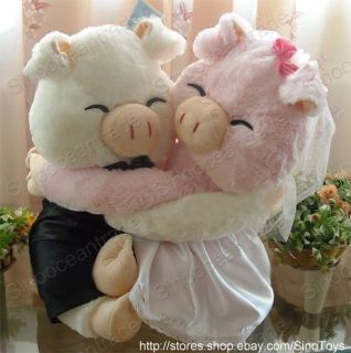 Couple of Large Smile Wedding Marriage Pigs Embrace Hug