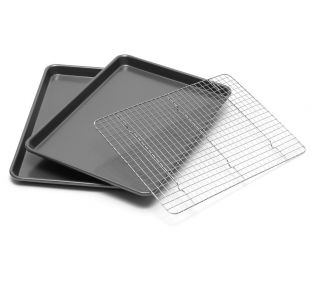 Jelly Roll Pan Set of 2 with Bonus Cooling Rack 12x17 Bakeware