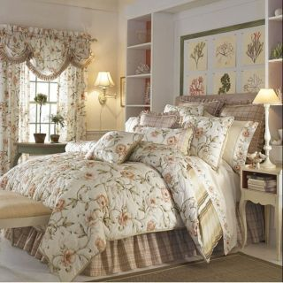Carolina Croscill Coral Floral Queen Comforter Set
