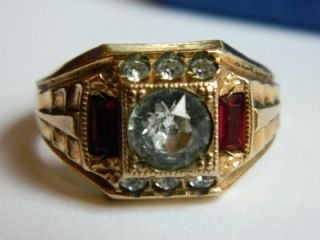 Vintage 14k Gold F Clark Coombs Art Deco Mens Paste Stone Ring 1930s