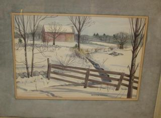 Fine Vintage Listed William Cruger New England Barn Winter Landscape