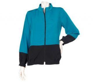 Susan Graver Peachskin Color Blocked Zip Front Jacket —