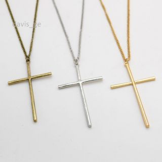 1pcs Gold Silver Bronze Cross Pendant Necklace Sweater Chain 32 Girls
