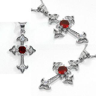Fashion Jewelry Gift Cross Cut Red Ruby White Gold GP Pendant Free