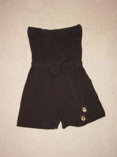 138 JUICY COUTURE Beach Royalty Black Tea Rose Romper Jumpsuit sz