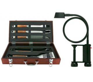 Mr. Bar B Q 5 Piece Tool Set w/Wood Case & FlexGrill Light   H361356