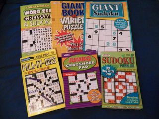 Huge Lot of 6 Puzzle Books   Sudoku   Word Search   Crossword   Fill