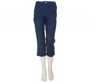 Denim & Co. Modern Waist Stretch Colored Denim Crop Pants —