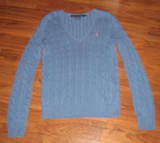 EUC Ralph Lauren Polo Cable Knit Sweater with Pony Size Medium Blue
