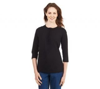 Liz Claiborne New York 3/4 Sleeve Henley with Ruffle Placket   A220797