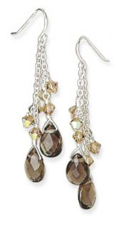 Faceted Smoky Quartz and Crystal Drop Earrings