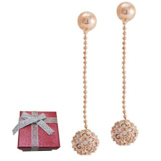 Rose Gold Encrusted Crystal Ball Dangle Drop Earrings