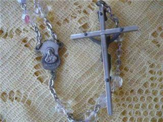 Vintage AB Glass Crystal Bead Rosary Modern Cross