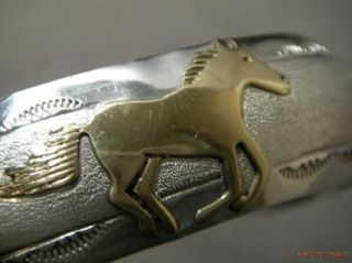 Corbet Joe Navajo Sterling Silver Gold Filled Horse Cuff Bracelet