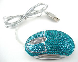 Aqua Blue Crystal Rhinestone USB Optical Computer Mouse