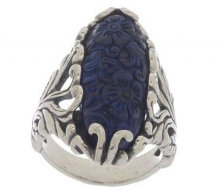 Carolyn Pollack Sterling Carved Lapis Ring —