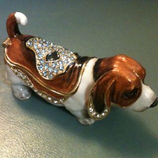 Hound Dog Swarovski Crystal Bejeweled Trinket Box Figurine