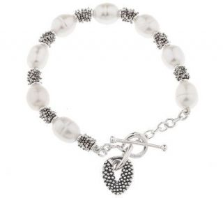 Michael Dawkins Sterling Cultured Pearl 6 3/4 Toggle Bracelet
