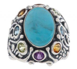 Carolyn Pollack Sterling Garden Grandeur Multi gemstone Ring