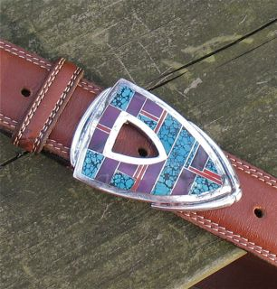 Ray Tracey Turquoise Sugilite and Coral Sterling Silver Belt Buckle