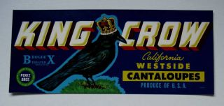 King Crow Melon Crate Label Crows Landing CA