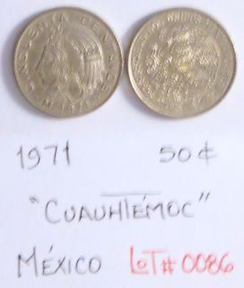 TWO 1971 50 Cents Cuauhtemoc Mexican Coins in GREAT Conditions