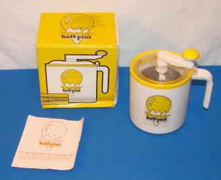 Mini Donvier Half Pint Ice Cream Maker Yellow Rim with Box Manual