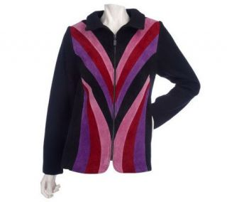 Bob Mackies Patchwork Suede Zip Jacket w/ Knit Trim   A84490