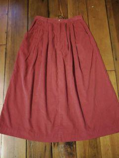 Vtg 80s Eddie Bauer Red Corduroy A Line Skirt 26 Waist