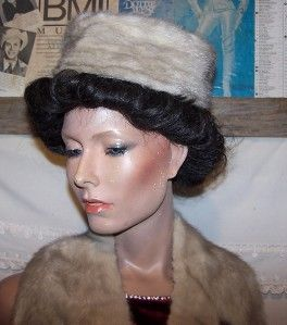 Vintage Marche Coyle Richardson Hat Box w Matching Mink Fur Hat Collar