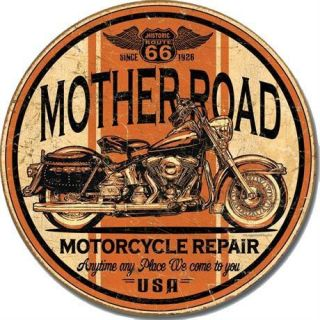 Mother Road Rt 66 Motorcycle Repair Vintage Round Metal Tin Sign