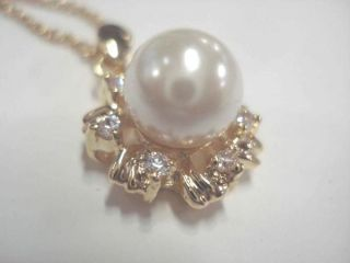 NEW 18 14KGP GOLD PLATED NECKLACE w PEARL CUBIC ZIRCONIA PENDANT