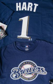 MLB #1 Corey Hart Milwaukee Brewer Shirt jersey NEW L & 2011 pocket