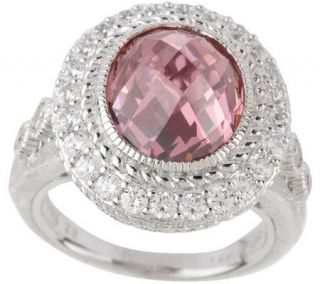 Judith Ripka Sterling 7.0ct Pink Diamonique Cocktail Ring w/Pave