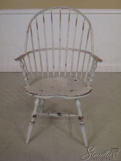 16732 White Crackle Paint Decorated Windsor Arm Chair
