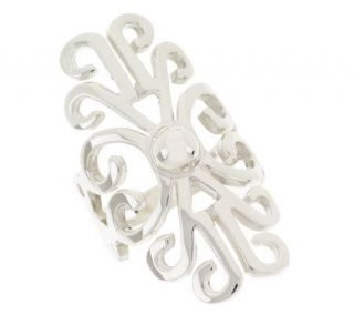 Artisan Crafted Sterling Bold Scroll Design Ring   J28121