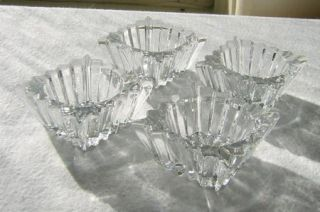 Heisey Glass Ridgeleigh Pattern Open Salts, Crystal Square Ribbed Set