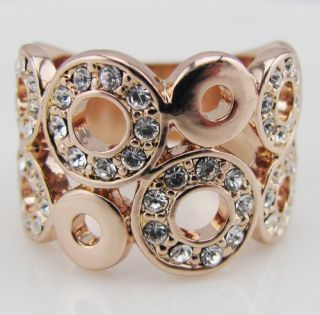 18K Rose Gold GP Swarovski Crystal Ring Promise Engagement Princess R1