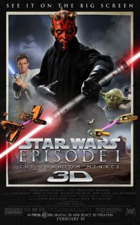Star Wars Episode 1 Phantom Menace Movie Poster 1 Sided Original 3D