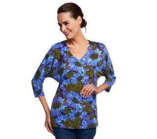 Isaac Mizrahi Live! Arizona Floral Dolman Sleeve Knit Top —