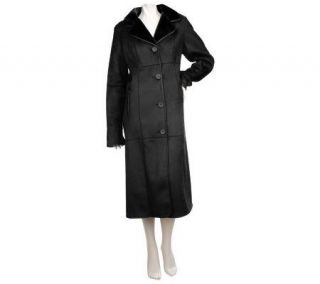 Dennis Basso Faux Shearling Full Length Coat with Piping Detail
