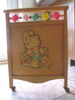 Vintage 1950s Whitney Bros. Wooden Childs Baby Doll Crib Bed