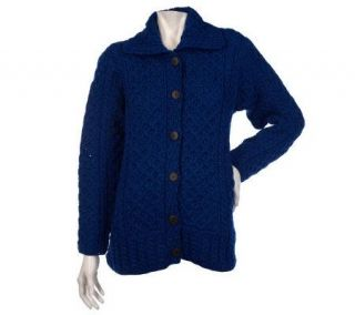 Kilronan Merino Wool Button Front Cable Knit Cardigan   A200286