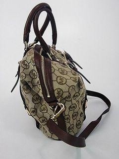 Michael Kors Womens Handbag Mocha Jaquard Bedford Monogram Satchel