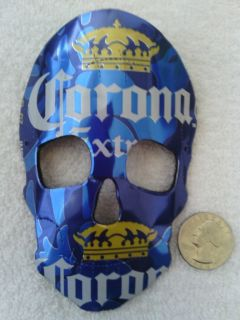 Corona Extra Beer Recycled Skull Mask Rear View Mirror Ornament