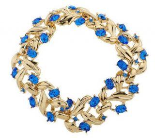 Isaac Mizrahi Live Polished Leaf & Oval Stone Link Bracelet   J155099