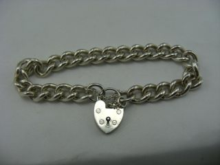 Silver Heavy Full UK HM Charm Braclet and Love Heart Clasp Curb