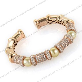 18K Rose Gold Diamond and Pearl Bracelet